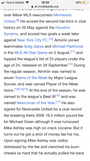 Found on miguel almirons wikipedia but quickly removed